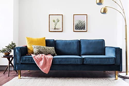 Edloe Finch Midcentury Modern Lexington Blue Velvet Sofa