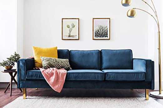 Edloe Finch Midcentury Modern Lexington Blue Velvet Sofa, 87\