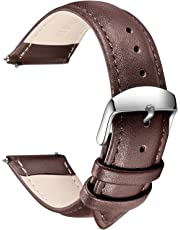 Quick Release Leather Watch Strap, SONGDU Grain Genuine Leather Replacement Watch Band with Stainless Metal Buckle Clasp 16mm, 18mm, 20mm, 22mm, 24mm