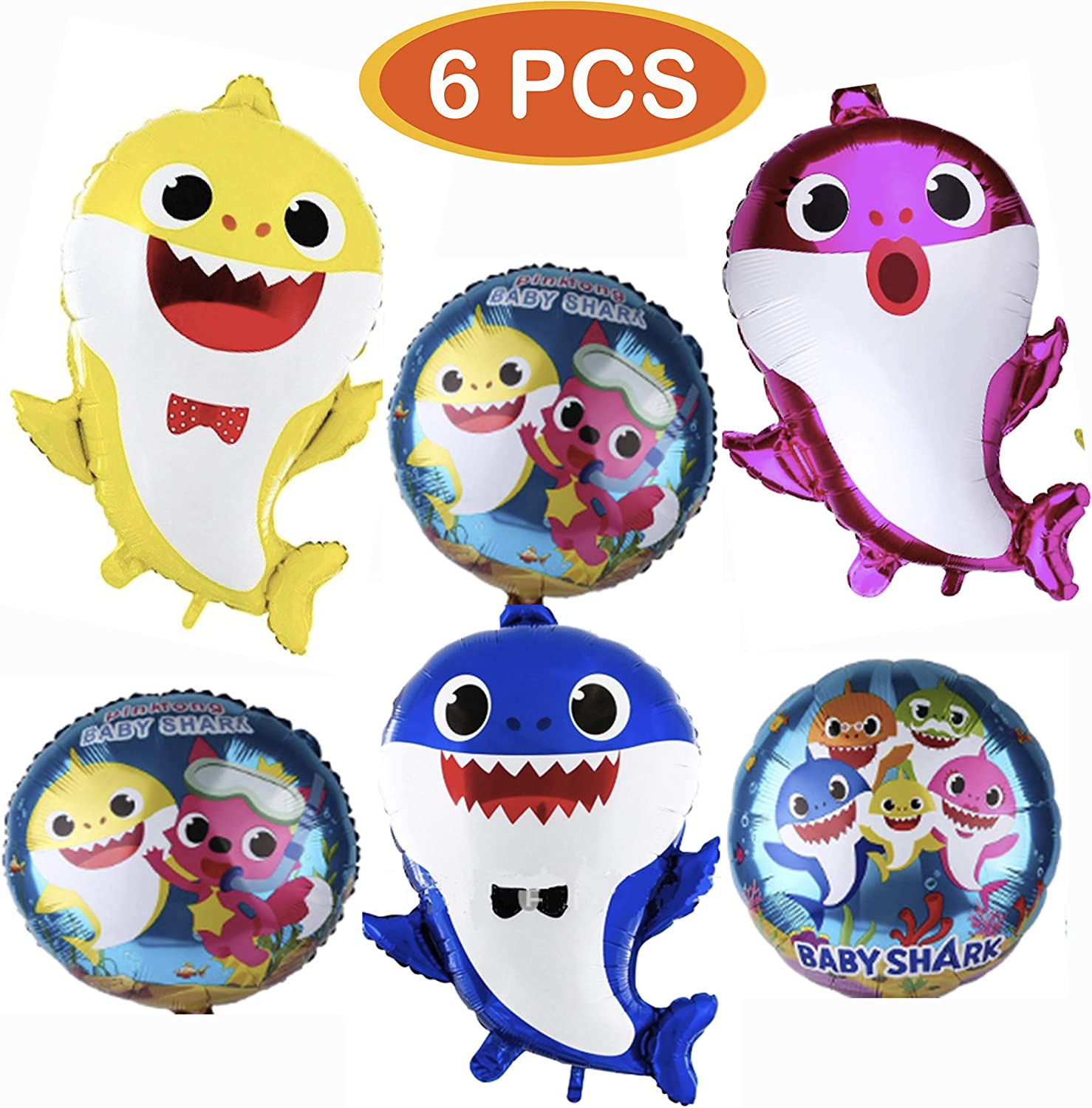 Ferod Baby Shark Balloons, Shark Party Supplies for Baby, Helium baby shark party balloons, Birthday Decorations Baby Shower Party Supplies (6 pcs)