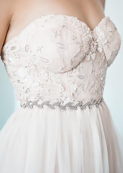Amazon.com: SWEETV Rhinestone Leaf Bridal Belt Thin Crystal Wedding ...