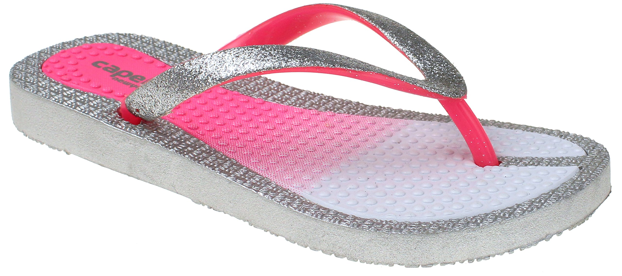 Capelli New York Girls Fashion Flip Flops With Ombre Print Silver Combo 1/2