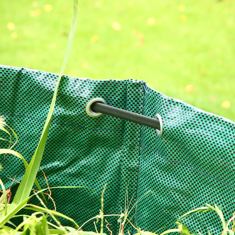 WHT Packung mit 3 Gro/ßen 272L Gartenabfalls/äcke f/ür Schwere Aufgaben mit Griffen H76 cm, D67 cm Gr/üne Laubsack mit PP-Gewebe