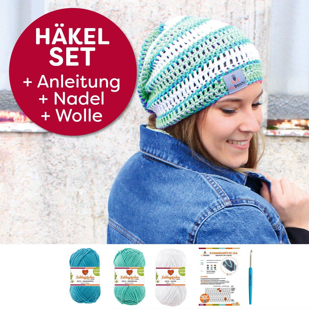 myboshi Mützen Häkelset Sommer Beanie Iga (85% Baumwolle 15% Kapok ...