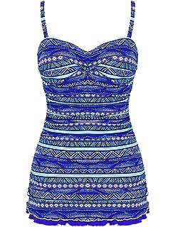 5959d5bea0f4 Hilor Women's One Piece Swimsuits Tummy Control Swimwear Ruffle Swimdress  with Built in Swim Brief