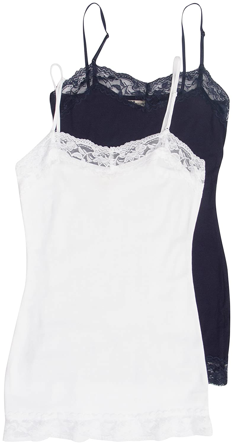da73863324f4 2 Pack Zenana Women's Lace Trim Tank Tops Small Navy, White at Amazon  Women's Clothing store: Tank Top And Cami Shirts