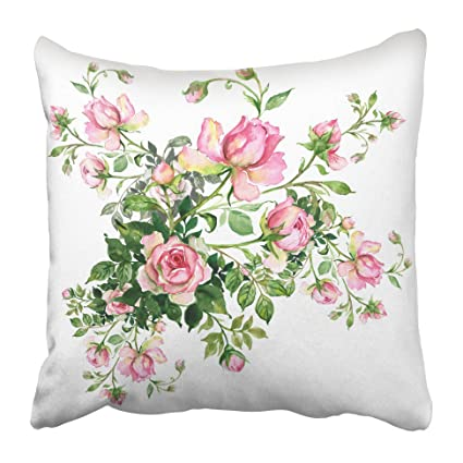 Amazon emvency decorative throw pillow covers cases pink flower emvency decorative throw pillow covers cases pink flower watercolor rosebud bouquet roses buds colorful floral botanical mightylinksfo