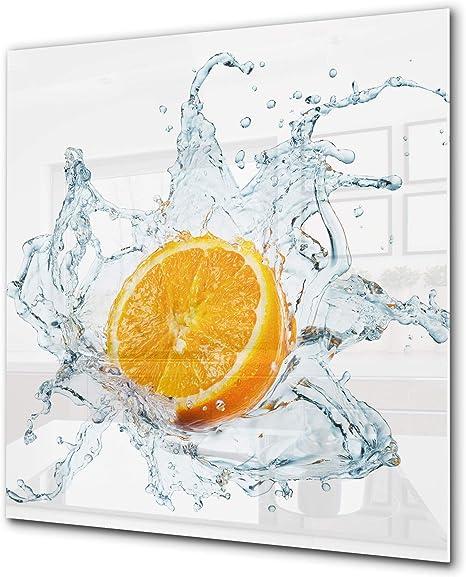 Splashback Toughened Glass Unique Orange Fruits and Splashing Water Any Sizes