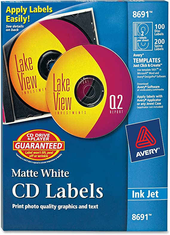 Amazon Com Avery Cd Labels 100 Disc Labels 200 Spine Labels 8691 Printer Labels Office Products