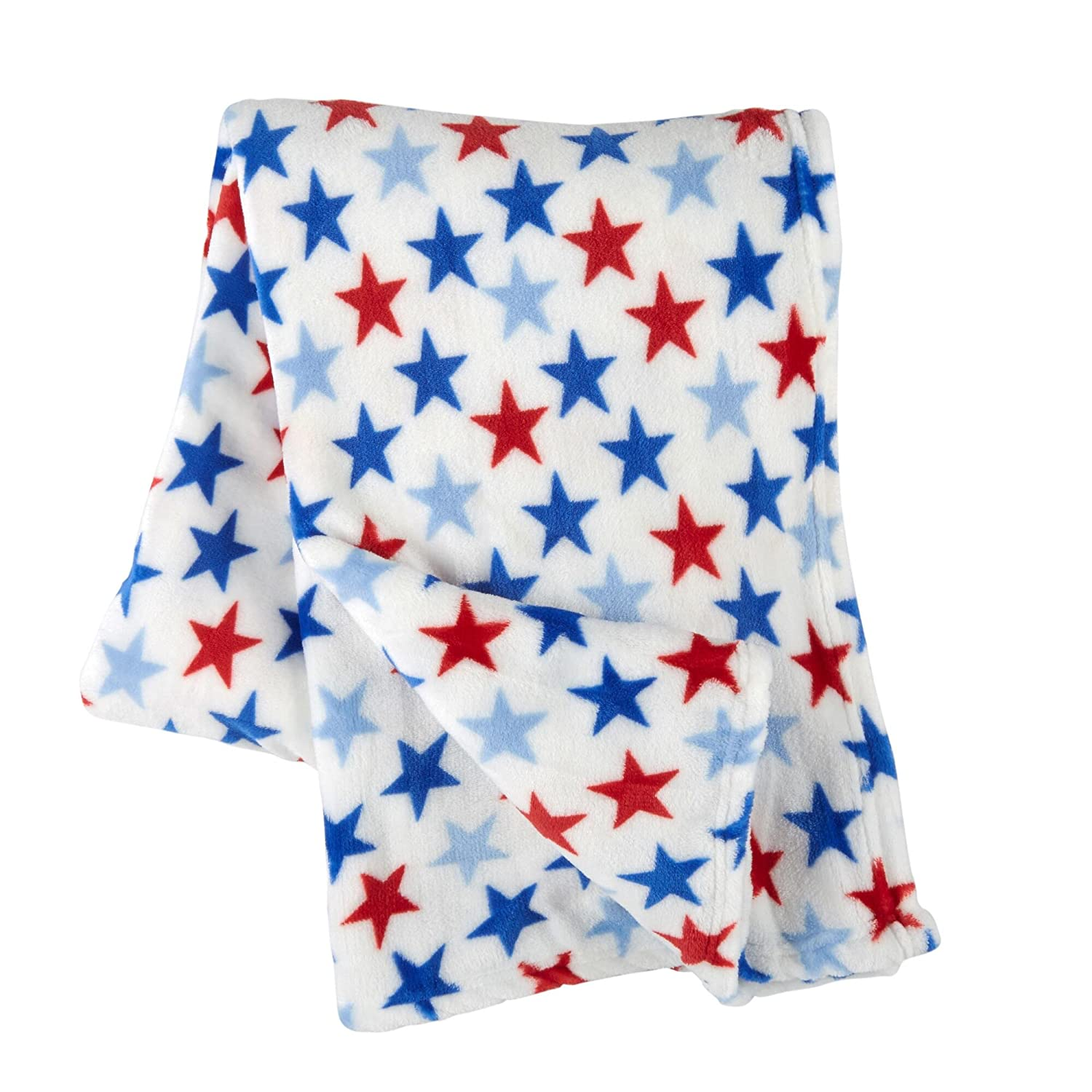 50-Inch x 70-Inch Marina Bay Nautical Patriotic Red White Blue American Stars Throw Blanket