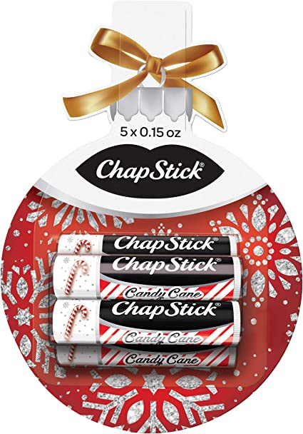 ChapStick Lip Balm Holiday Ornament Gift Pack (Candy Cane, 0.15 Ounce, 5 Sticks), Lip Care, Moisturizer and Therapy, Skin Protectant, Stocking Stuffer