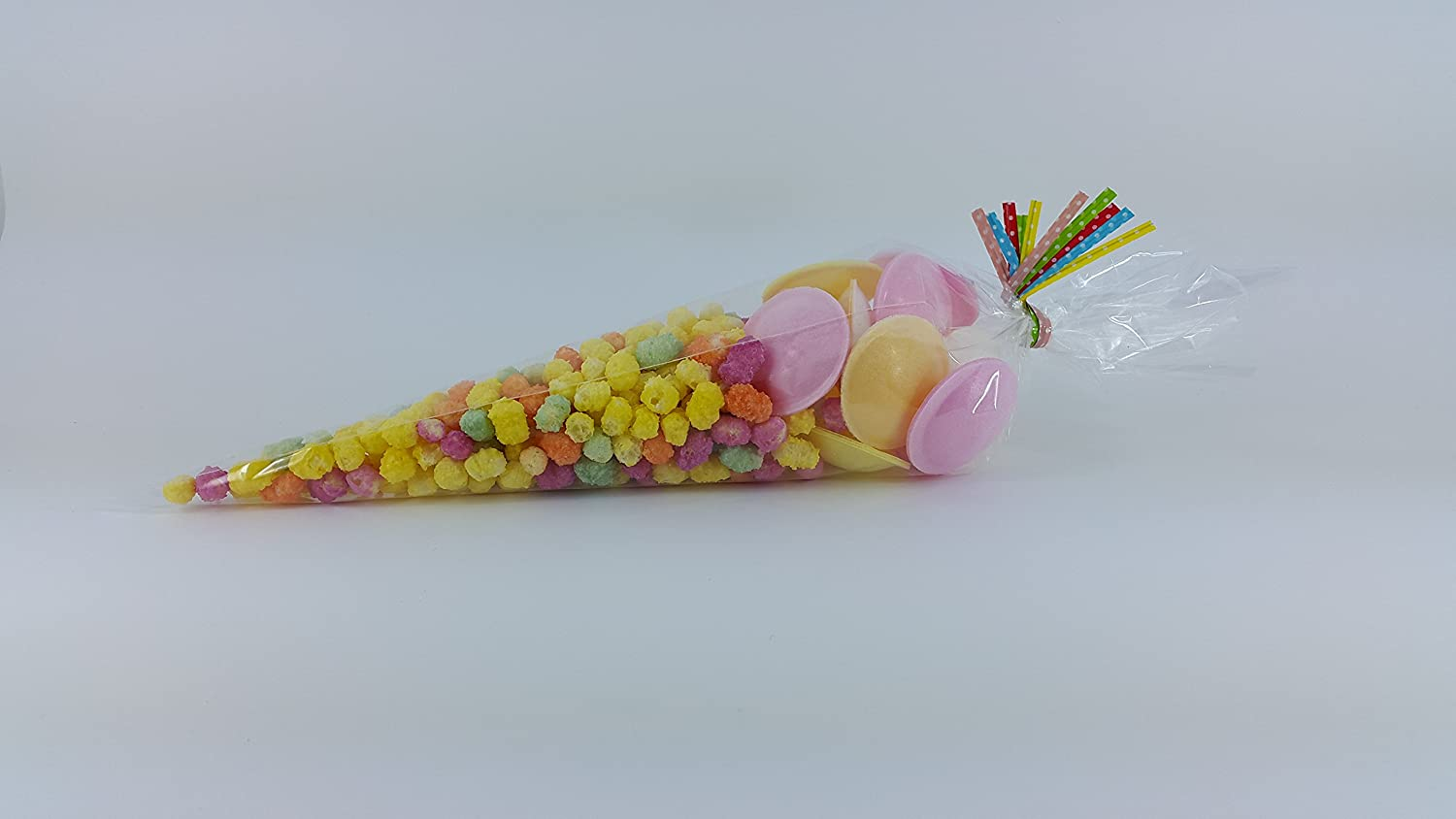 25 CLEAR CELLOPHANE CONE BAGS WITH ASSORTED COLOURED POLKA DOT TWIST TIES LARGE 14.5' x 7' Premier Design Products