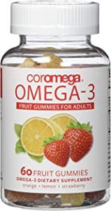 Coromega Adult Omega 3 Fish Oil Gummies, 50mg DHA and 10 mg EPA of Omega-3s Fatty Acids, Dietary Supplement, Orange, Lemon, and Strawberry Banana Flavors, One Bottle, 60 Gummies per Bottle