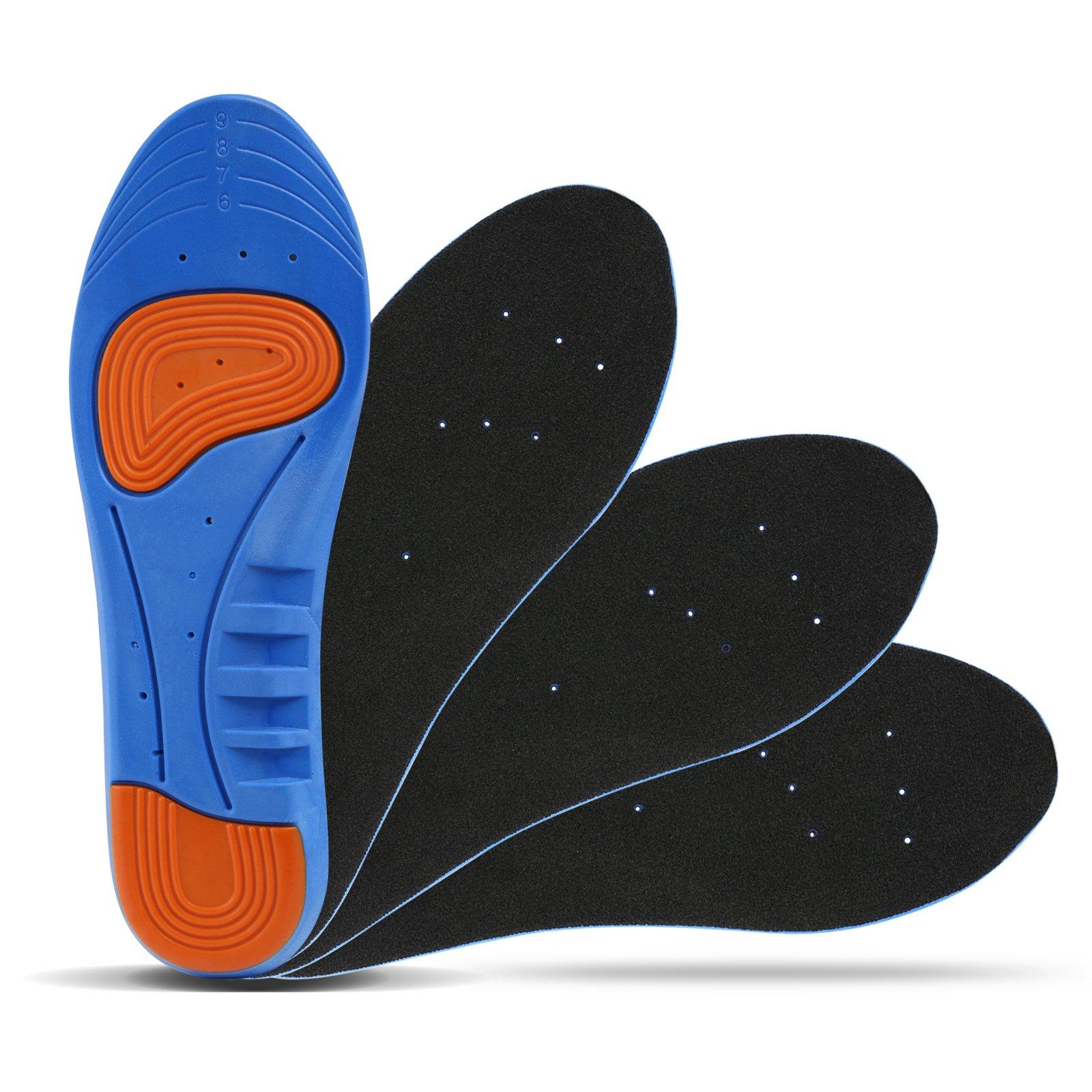 LIHAO 2 Pares de Plantillas Zapatos Unisex Plantillas Gel Deportivas(Azul y Naranja)(