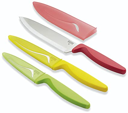 Kuhn Rikon 22876 Colori 2 Classic Cutlery CC - Juego de cuchillos de cocina (3 unidades: cuchillo para vegetales de 21 cm y cuchillos de cocina de 24 ...