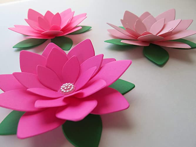 Amazon Set Of 3 Paper Lotus Flowers Shades Of Pink Water