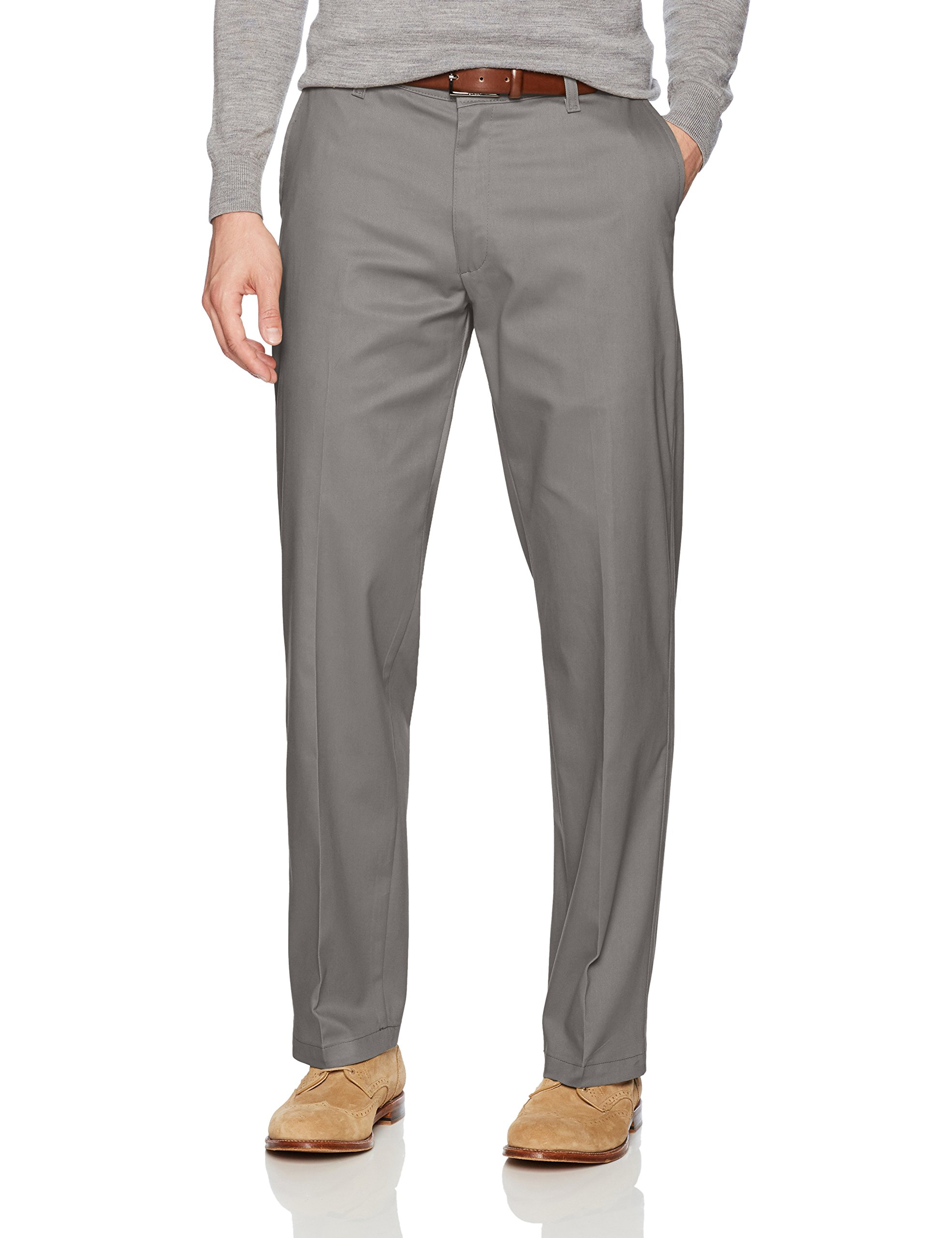 LEE Men's Total Freedom Stretch Relaxed Fit Flat Front Pant, Gray, 40W x 32L