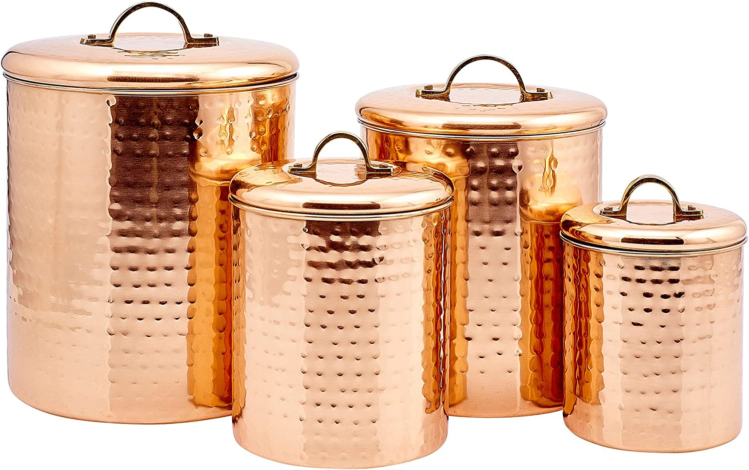 Vintage Copper Kitchen Storage Tins Cans Sugar Containers Caddies Air Tight Lid