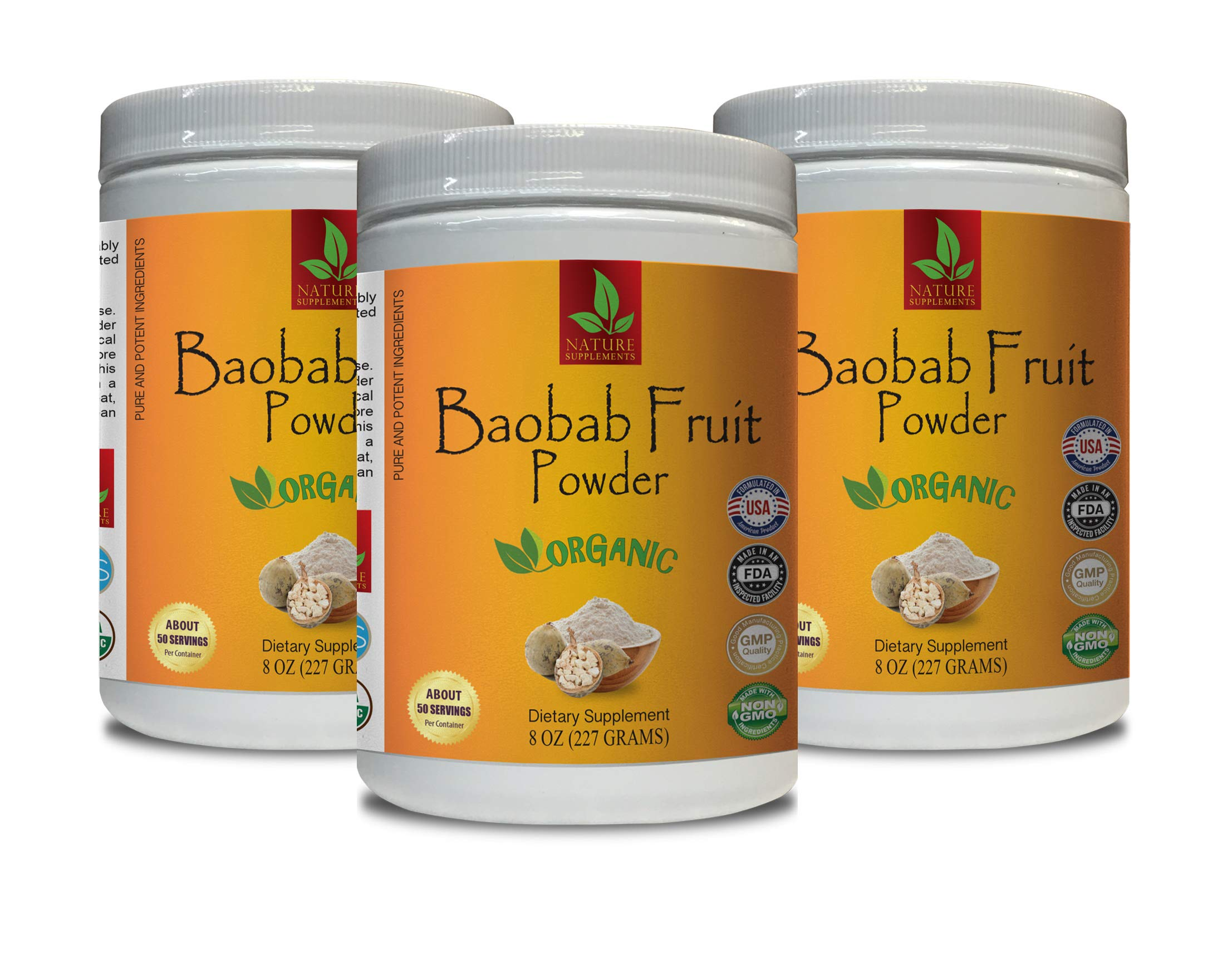 Anti-Aging Powder - Baobab Fruit Organic Powder - Pure and Potent Ingredients - Digestive Weight Loss - 3 Cans 24 OZ (150 Servings)