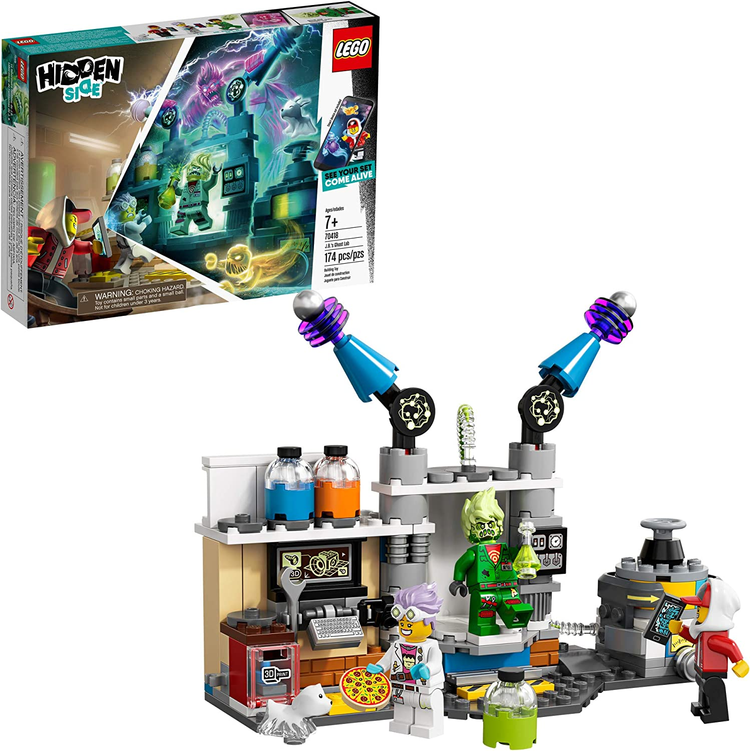 LEGO Hidden Side J.B.'s Ghost Lab 70418 Building Kit, Ghost Playset for 7+ Year Old Boys and Girls, Interactive Augmented Reality Playset (174 Pieces)