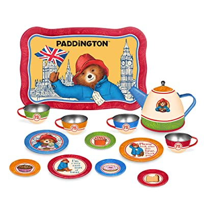 YOTTOY Paddington Bear Collection | 14-Piece Kid's Tin Tea Set Toy w/ Illustrations for Boys & Girls: Toys & Games