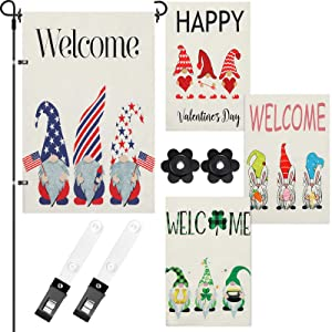 Tatuo 4 Pieces Seasonal Garden Flag Patriotic 4th of July Yard Flag St. Patrick's Day Gnome Welcome Easter Valentine's Day Lawn Flags Double Sided Burlap House Flag for Holiday, 12 x 18 Inch