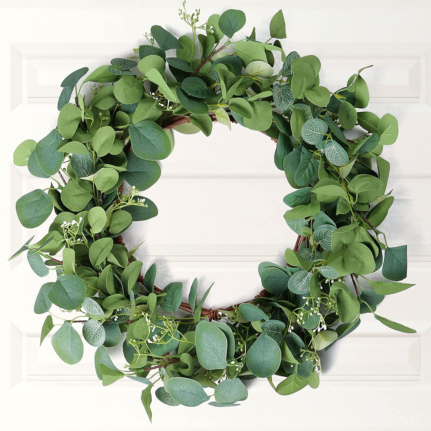 Forwedo Eucalyptus Wreath, Wreaths for Front Door Outdoor Spring Summer All Seasons, Green Greenery Fresh Large Artificial Farmhouse Wreath Home Wall Hanging Plant Decor (Green- Eucalyptus Wreath)