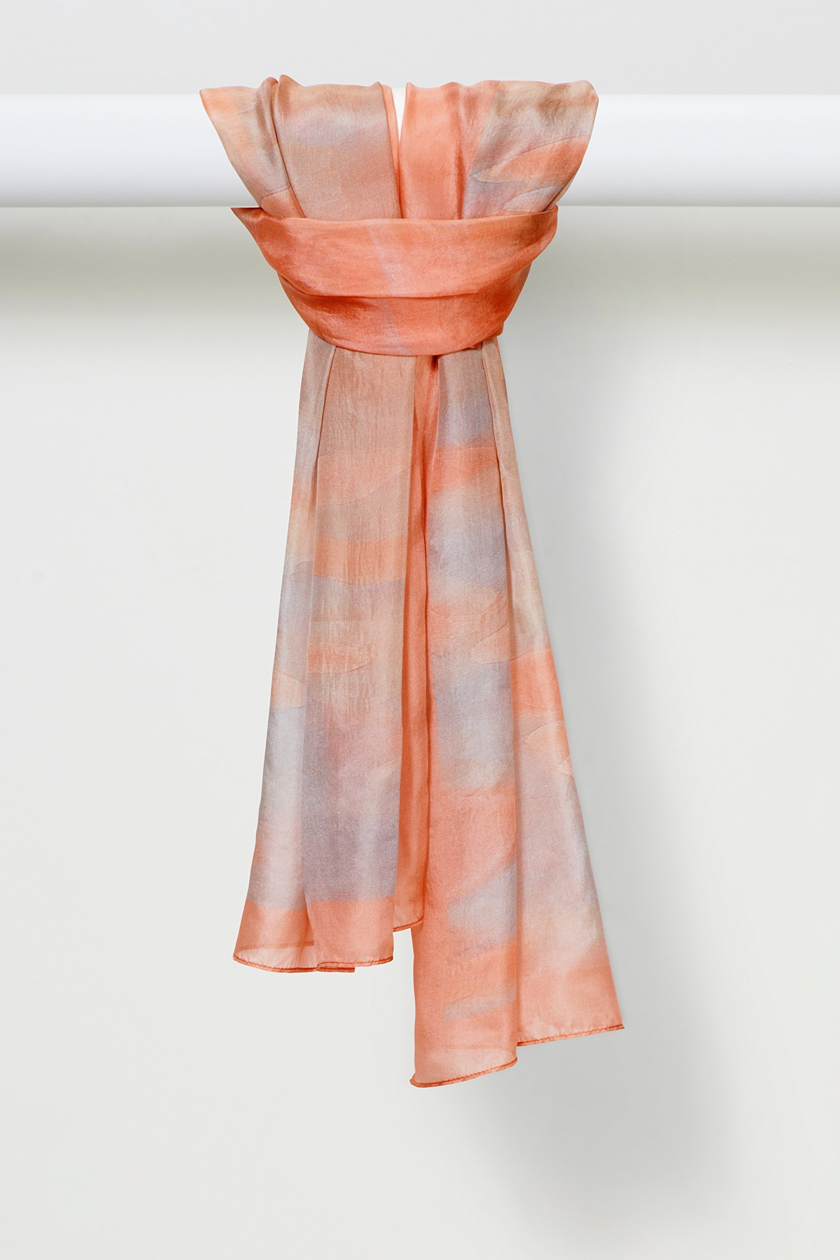 Louis Jane Watercolors Smooth Silk Chiffon Scarf in Peaches
