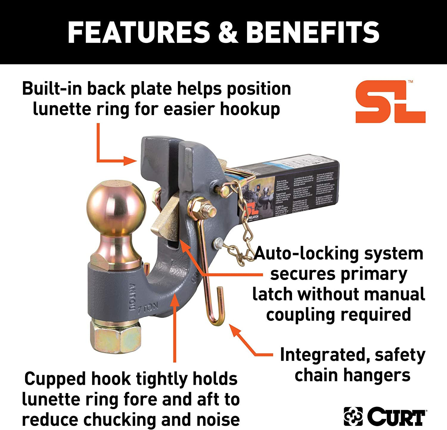 2-in Shank 14,000 Pounds CURT 48406 SecureLatch Receiver-Mount 2-5//16-Inch Ball and Pintle Hitch Combination