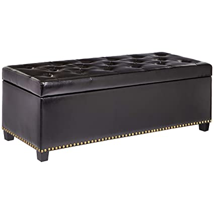 Marvelous First Hill Messina Lift Top Storage Ottoman Bench With Faux Leather Upholstery And Nailhead Trim Jet Black Theyellowbook Wood Chair Design Ideas Theyellowbookinfo