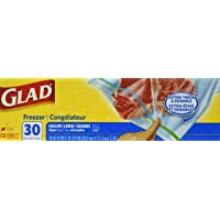 Glad Food Storage Bags, Freezer Zipper, Large, 30 Bags