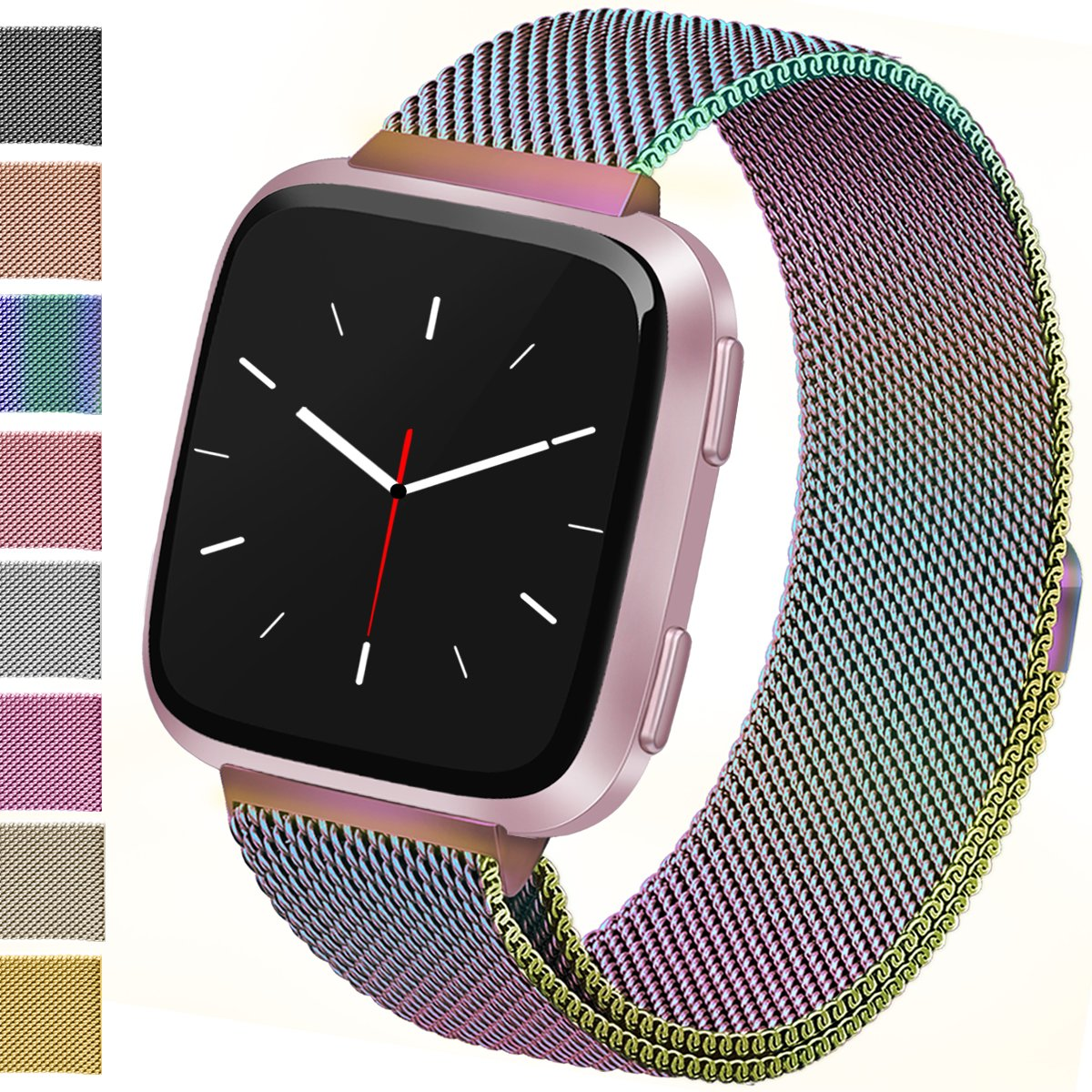 Vancle For Fitbit Versa Bands, Stainless Steel Milanese Mesh Loop Metal Replacement Wristbands with Magnet Lock for Fitbit Versa (Rainbow, Small)