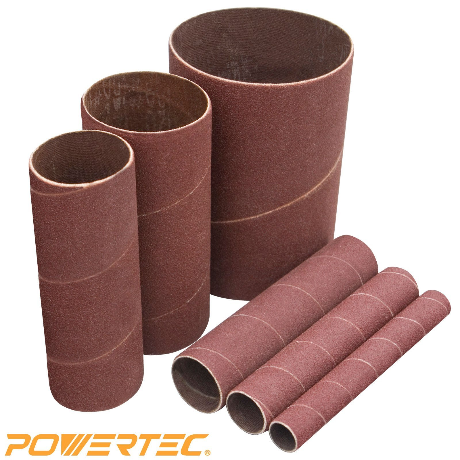 "POWERTEC 11208 Sanding Sleeves, 4-1/2-Inch, 240 Grit, 1/2"", 3/4"", 1"", 1-1/2"", 2"" and 3"", 6PK"
