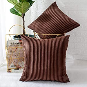 MERNETTE Pack of 2, Corduroy Soft Decorative Square Throw Pillow Cover Cushion Covers Pillowcase, Home Decor Decorations for Sofa Couch Bed Chair 20x20 Inch/50x50 cm (Striped Dark Brown)