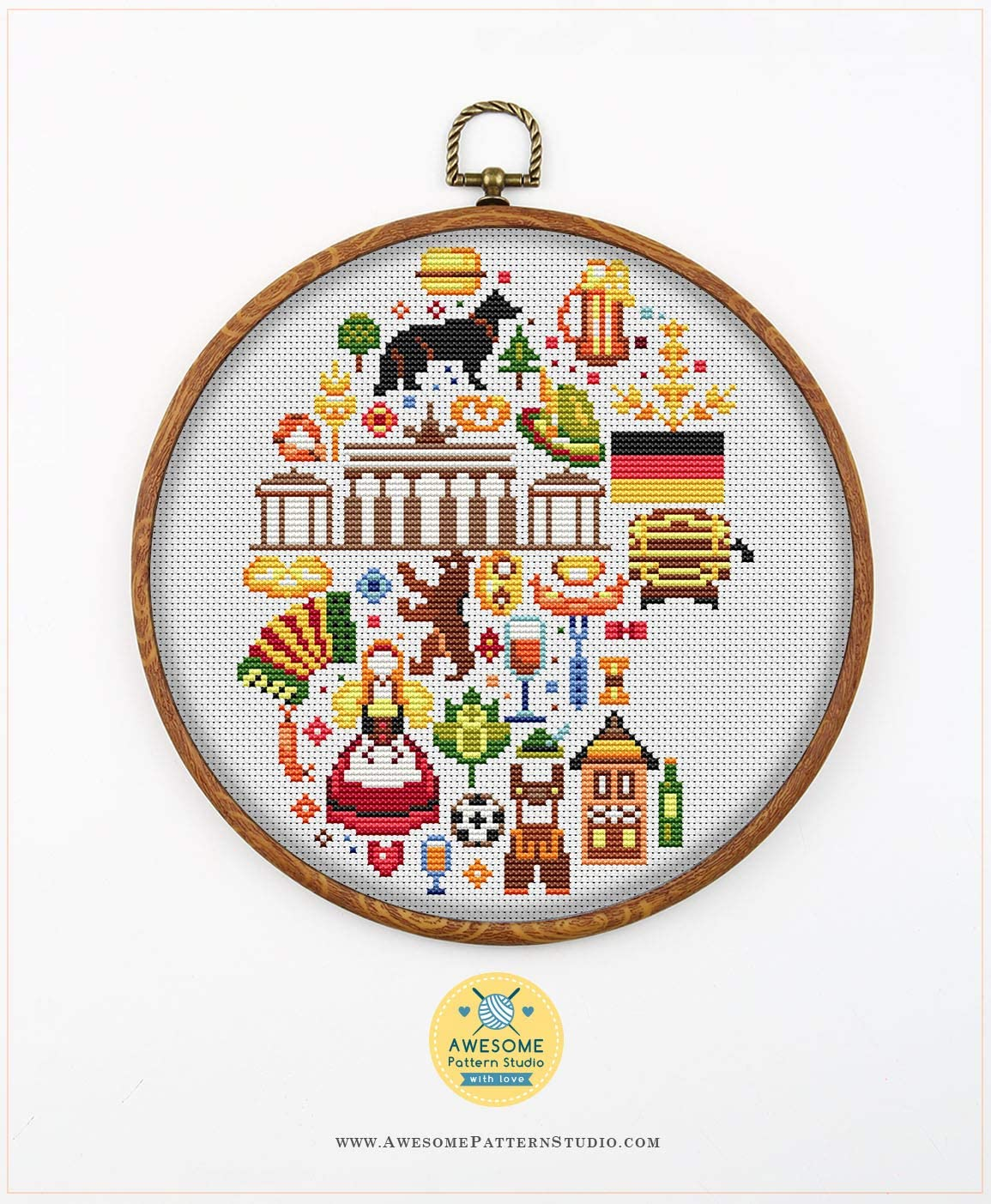 Threads Embroidery Pattern Kit Fabric Needles Embroidery Hoop and 4 Printed Color Schemes Inside Germany in Icons K844 Counted Cross Stitch KIT#3