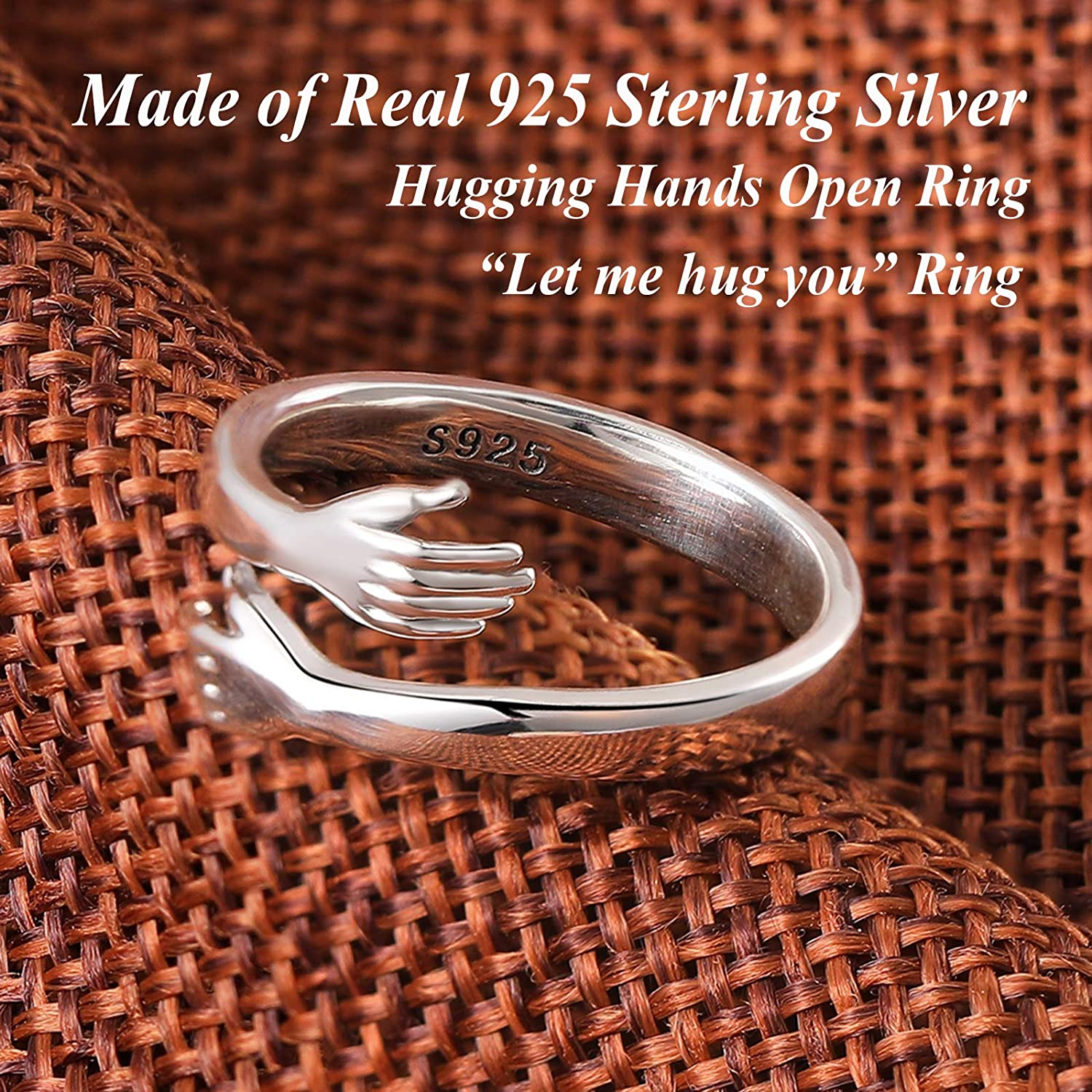 GAGAFEEL 925 Sterling Silver Hug Rings for Women Men Hugging Hands Open Ring Wedding Bands Boy Girl Stacking Ring Xmas Birthday Valentines with Jewelry Gift Box