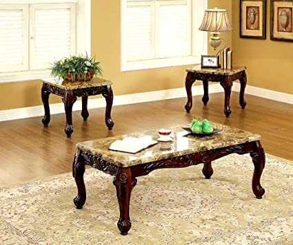 Amazon.com: 3pc Marble Table Set Coffee Side Tables Living Room ...