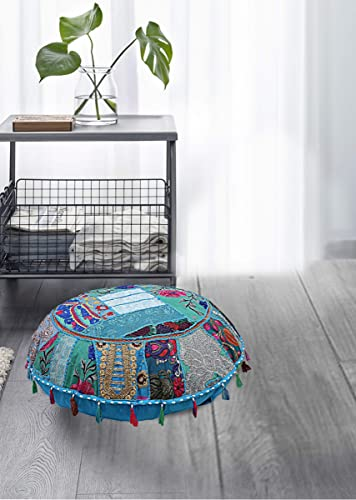Indian Pouf Footstool Ethnic Embroidered Pouf Cover, Indian Cotton Round Pouffe Ottoman Pouf Cover Pillow Ethnic Decor Art – Cover Only Turquoise, Round Cushion Covers 32 Inch