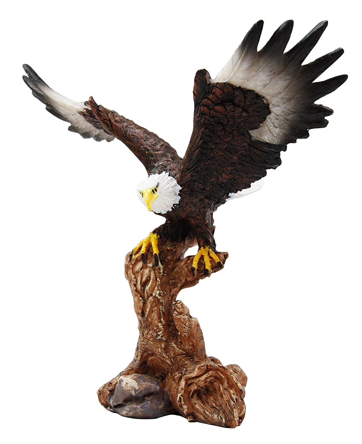 "Ebros 7"" Tall Bald Eagle Descending On Tree Branch Decorative Figurine As Patriotic Home And Office Decor Perching Eagles Wings Of Glory American Emblem Freedom Statues And Figurines"