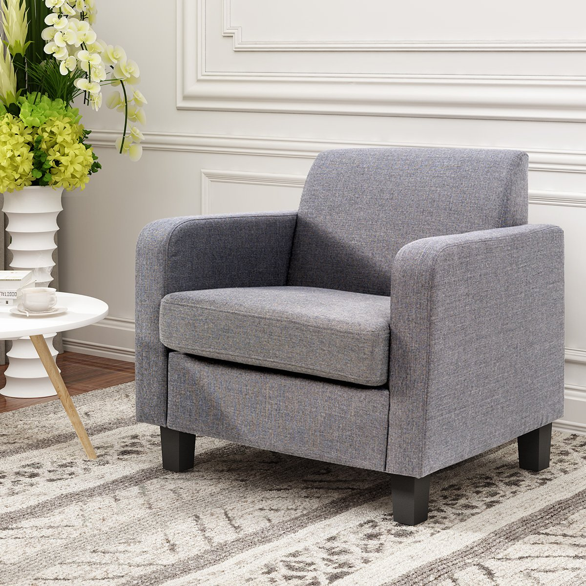 Beshomethings Fabric Linen Tub Chair Linen Sofa Armchair For Dining Living Room Lounge Reception Office Furniture Modern Grey