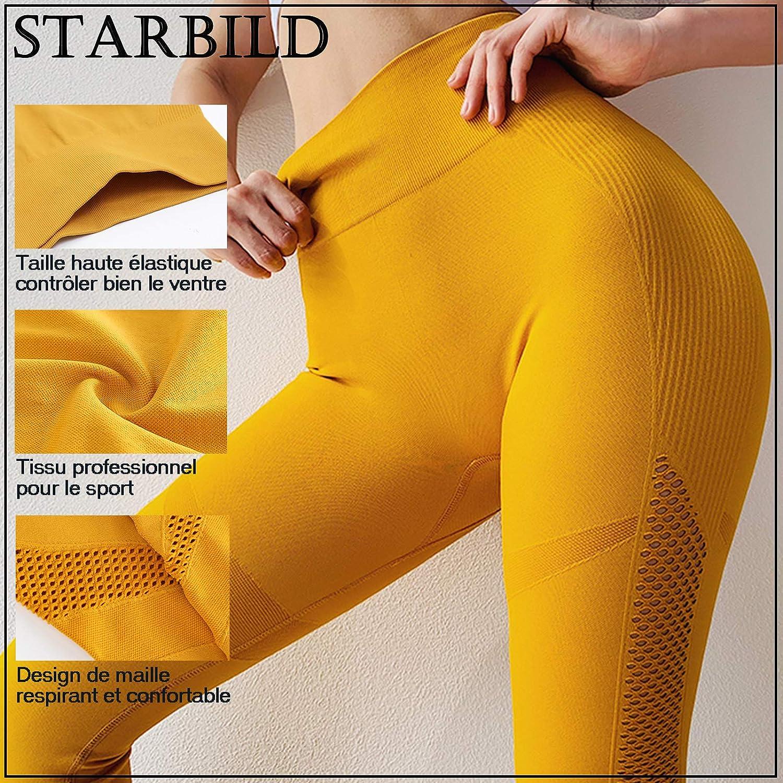 STARBILD Leggings de Sport Femme Sans Couture Pantalon de Yoga Taille Haute avec Maille Amincissant Slim Pantalon de Compression