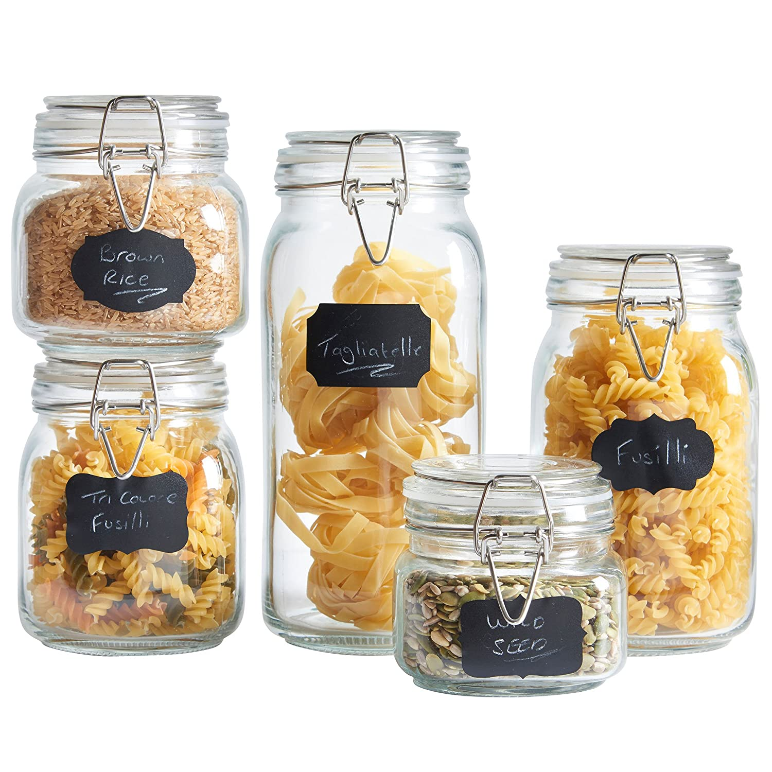 VonShef Set of 5 Clip Top Glass Storage Preserving Jars, With 10 Reusable Stickers & 1 anti-dust Chalk 07/639