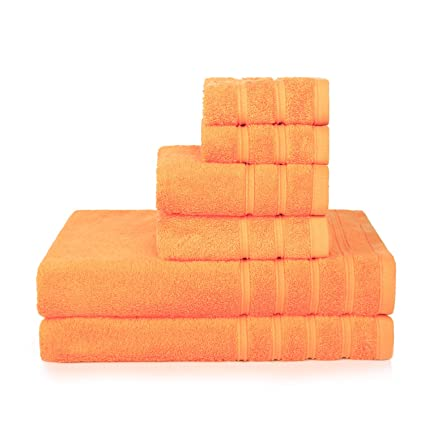 PROMIC 100 Cotton Bath Towel Set 6 Piece Includes 2 Towels