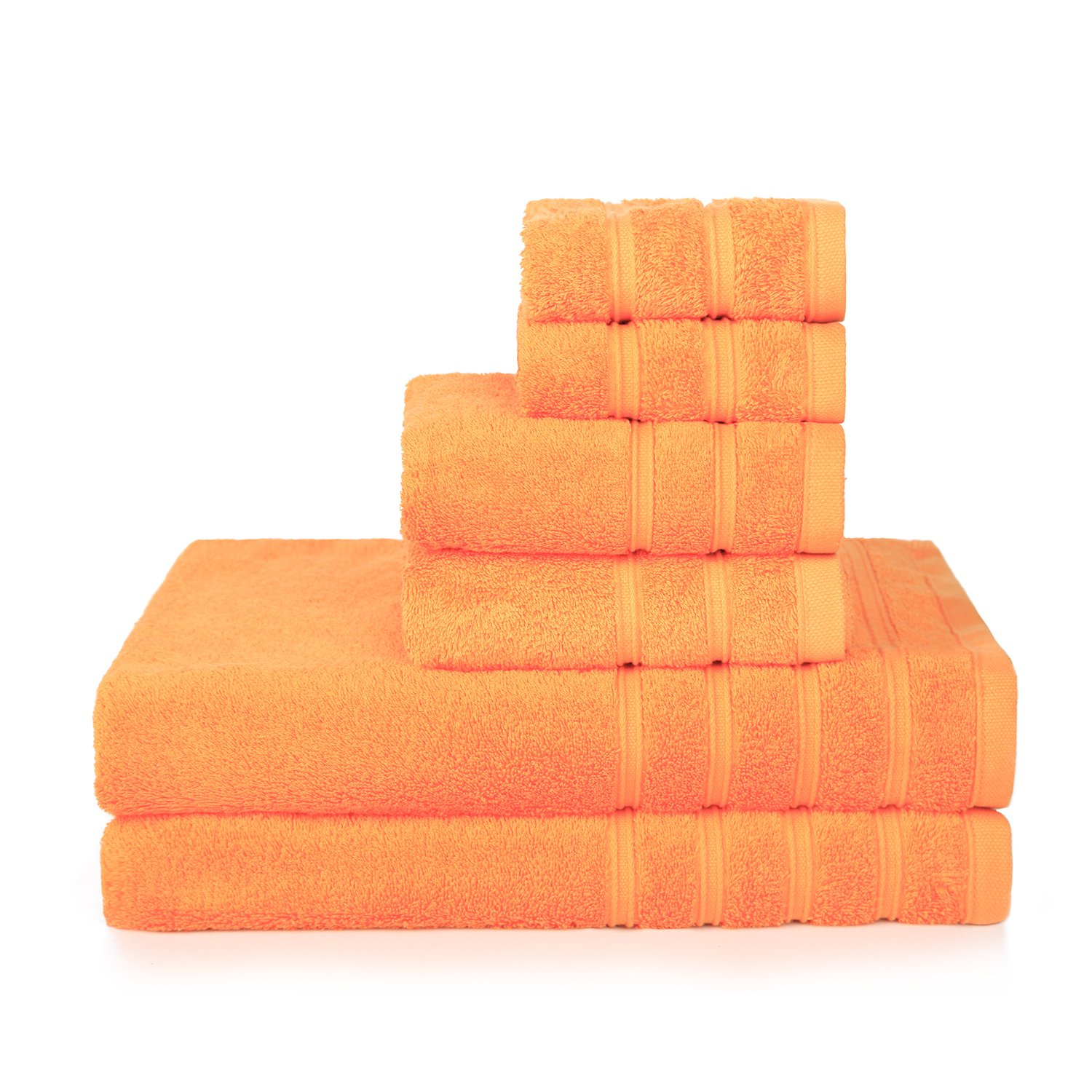 PROMIC 100% Cotton Bath Towel Set, 6 Piece Includes 2 Bath Towels, 2 Hand Towels, and 2 Washcloths - 500GSM, Highly Absorbent and Softness, Fade-Resistant, Orange