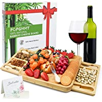 Charcuterie Board Set Cheese Board with Hiden Utensil Drawer, Bamboo Serving Platter for Meat, Wine & Cheese - Wedding…
