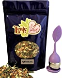 Leafy Love Night Relaxation Loose Leaf Tea - Excellent Quality Sleep - Helps with Anxiety and Stress - Caffeine Free - 3 OZ Herbal Tea Mix with a FREE Purple Tea Infuser