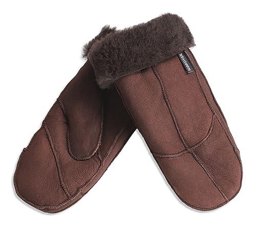 Nordvek - Manoplas para mujer - 100% piel de oveja auténtica - # 308-100 - Chocolate - OneSize