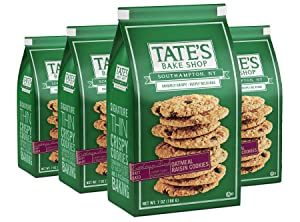 Tate's Bake Shop Thin & Crispy Cookies, Oatmeal Raisin, 7 Oz, 4Count