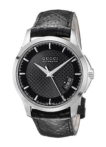 d1479095a Gucci G Timeless YA126413 - Reloj para Hombres, Correa de Cuero Color Negro:  Amazon.es: Relojes