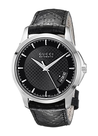 ed01bc6a828 Gucci G Timeless Automatic Black Dial Leather Strap Mens Watch YA126413   Amazon.ca  Watches